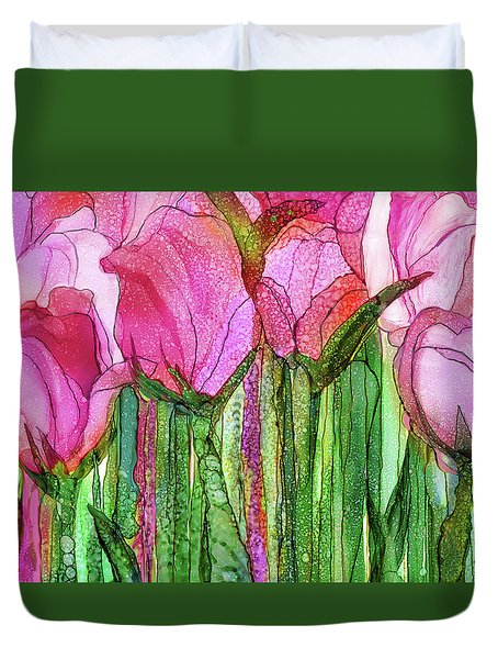 Duvet Cover featuring the mixed media Tulip Bloomies 3 - Pink by Carol Cavalaris