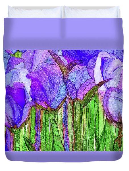 Duvet Cover featuring the mixed media Tulip Bloomies 3 - Purple by Carol Cavalaris