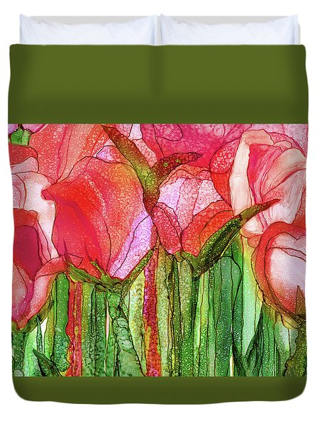 Duvet Cover featuring the mixed media Tulip Bloomies 3 - Red by Carol Cavalaris