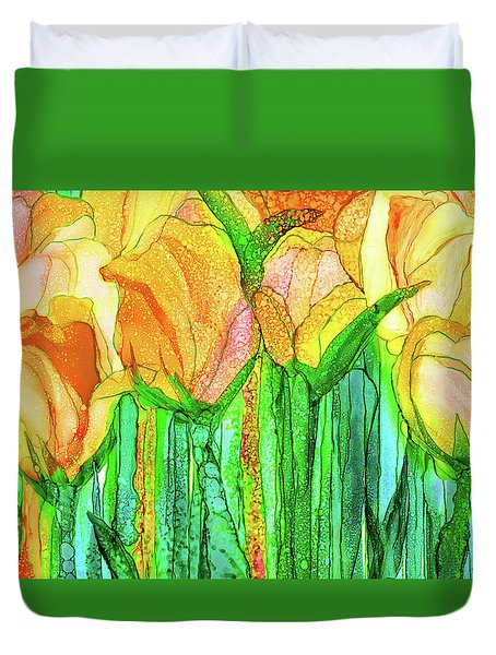 Duvet Cover featuring the mixed media Tulip Bloomies 3 - Yellow by Carol Cavalaris