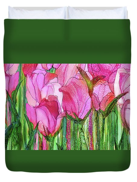 Duvet Cover featuring the mixed media Tulip Bloomies 4 - Pink by Carol Cavalaris