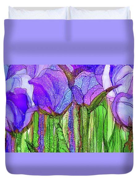 Duvet Cover featuring the mixed media Tulip Bloomies 4 - Purple by Carol Cavalaris