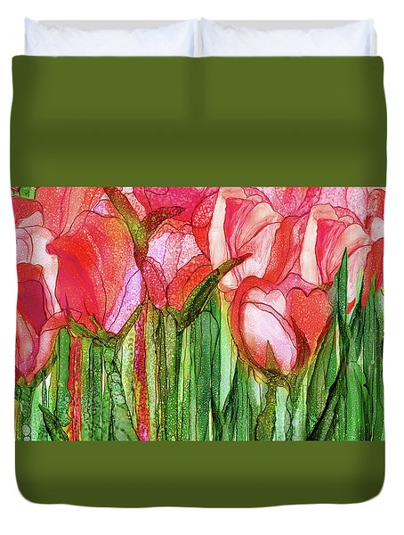 Duvet Cover featuring the mixed media Tulip Bloomies 4 - Red by Carol Cavalaris