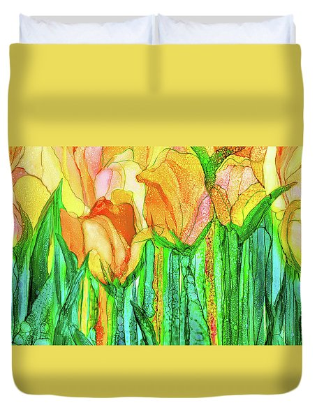Duvet Cover featuring the mixed media Tulip Bloomies 4 - Yellow by Carol Cavalaris