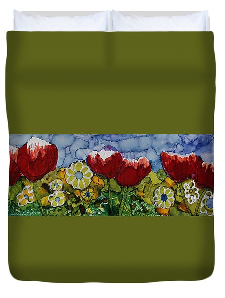 Tulip Bonanza Duvet Cover by Suzanne Canner