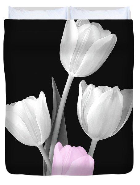 Tulip Bouquet Bw Duvet Cover