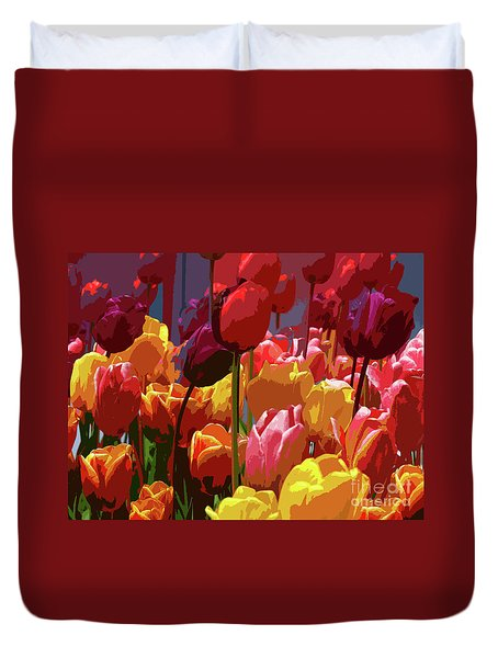 Tulip Confusion Duvet Cover by Sharon Talson