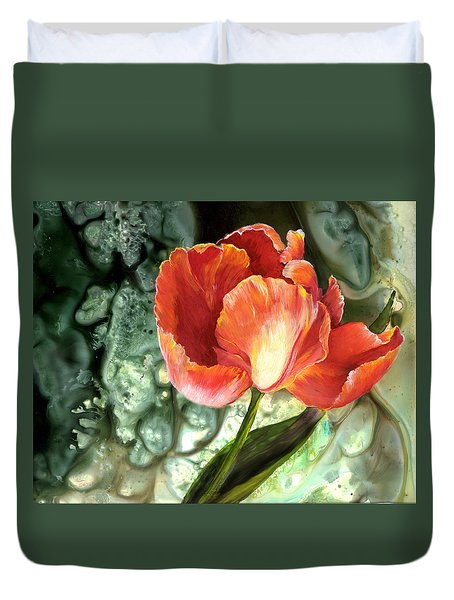 Duvet Cover featuring the painting Tulip Dance by Sherry Shipley