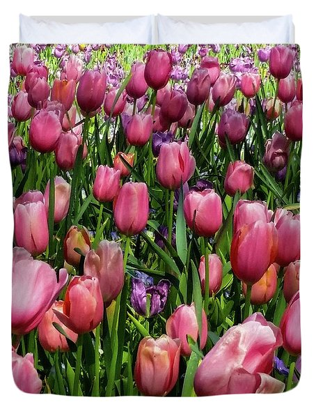Duvet Cover featuring the photograph Tulip Flowers  by D Davila