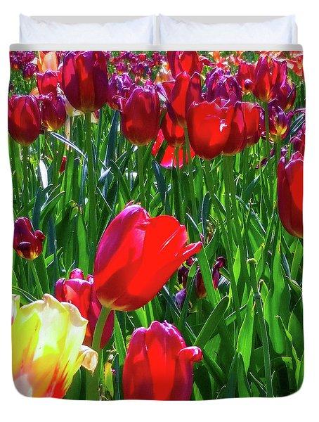 Tulip Garden In Bloom Duvet Cover