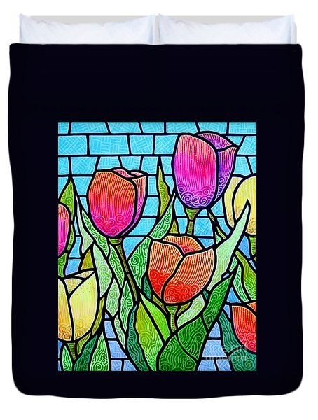 Duvet Cover featuring the painting Tulip Garden by Jim Harris