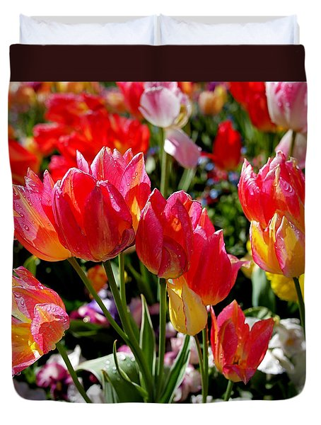 Tulip Garden Duvet Cover by Rona Black