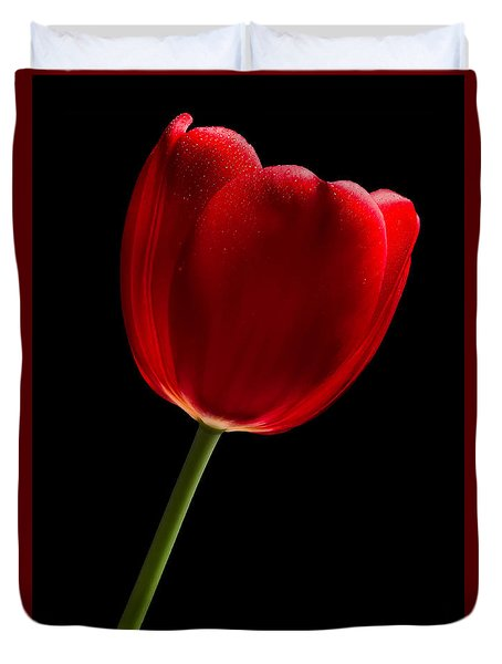 Red Tulip No. 2 By Flower Photographer David Perry Lawrence Duvet Cover