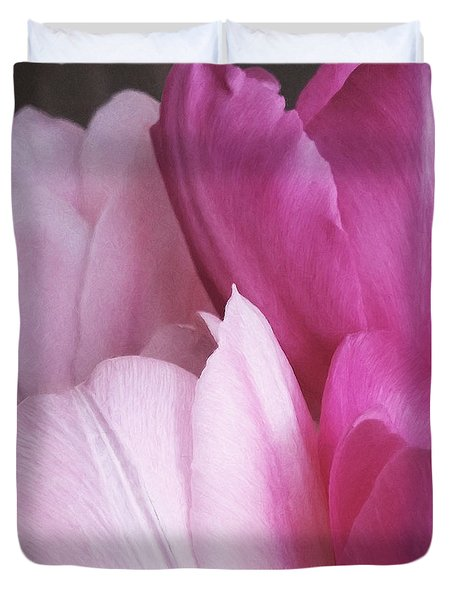 Duvet Cover featuring the digital art Tulip Petals by Julian Perry