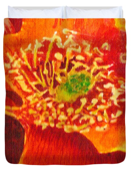 Duvet Cover featuring the painting Tulip Prickly Pear by Eric Samuelson