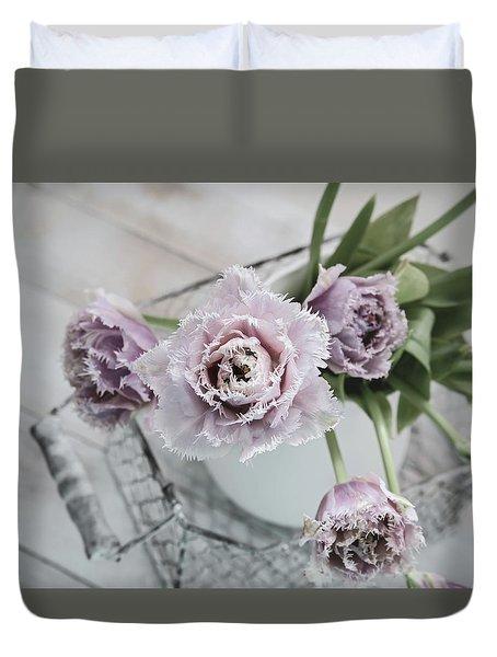 Duvet Cover featuring the photograph Tulip Ruffles by Kim Hojnacki