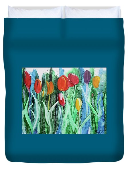 Duvet Cover featuring the painting Tulip Season by Nancy Jolley