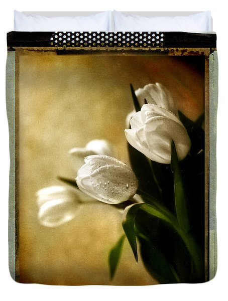 Duvet Cover featuring the photograph Tulip Side Sepia by Linda Olsen