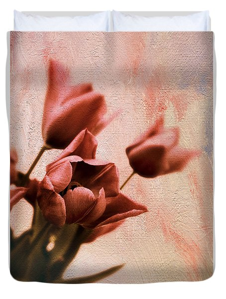 Duvet Cover featuring the photograph Tulip Whimsy by Jessica Jenney