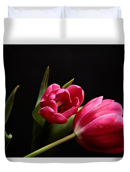 Duvet Cover featuring the photograph Tulip Study by Toni Hopper