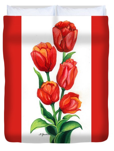 Duvet Cover featuring the painting Tulip Time by Barbara Jewell