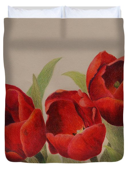 Duvet Cover featuring the drawing Tulip Trio by Phyllis Howard