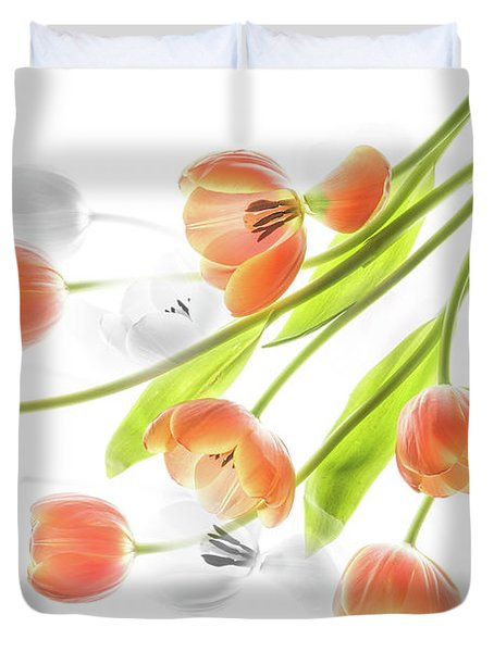 A Creative Presentation Of A Bouquet Of Tulips. Duvet Cover