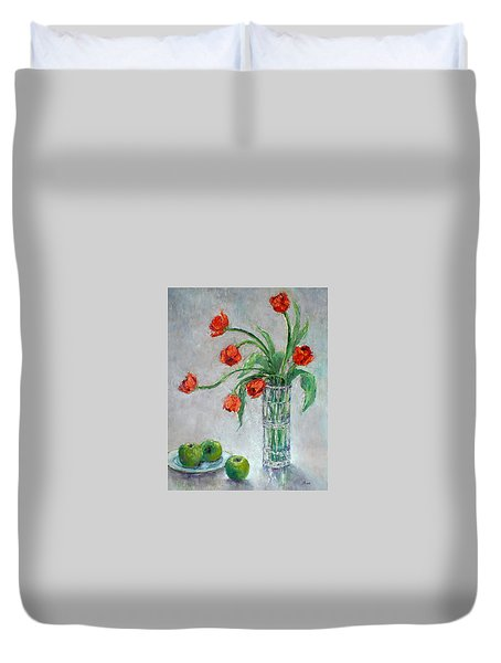 Tulips And Apples Duvet Cover by Jill Musser