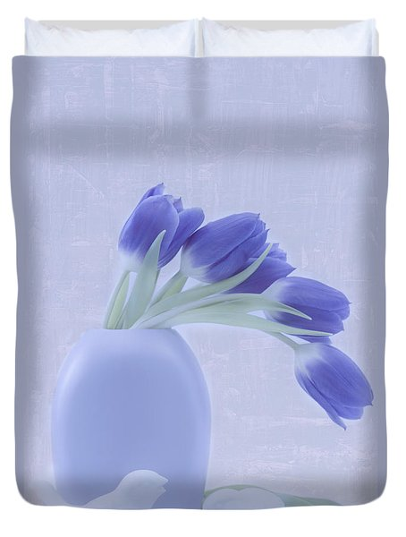 Tulips And Birdies  Duvet Cover