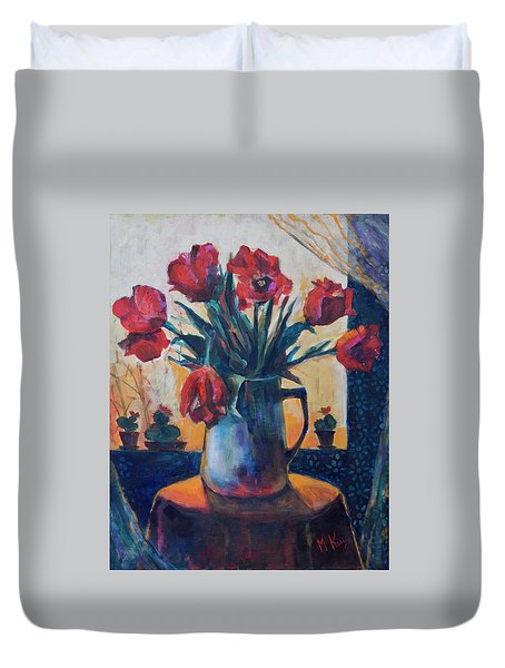Tulips And Cacti Duvet Cover