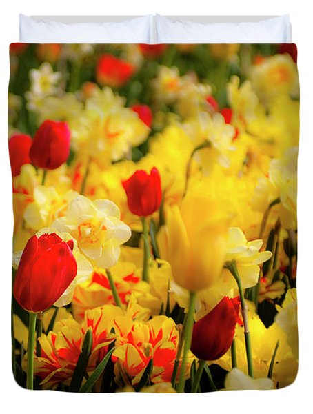Tulips And Daffodils Duvet Cover by Tamyra Ayles