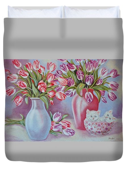 Tulips And Kittens Duvet Cover by Jan Law