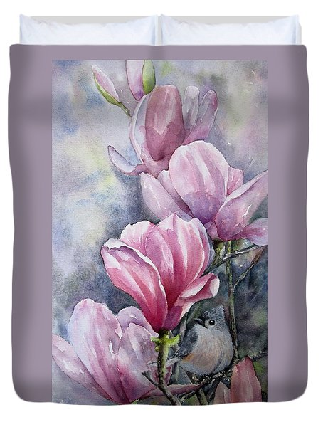 Tulips And Titmouse Duvet Cover