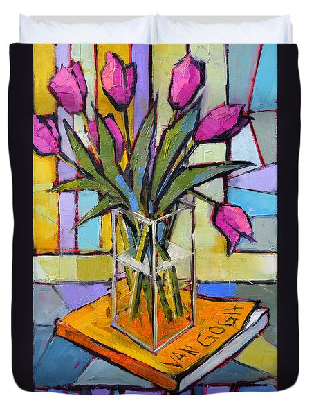 Tulips And Van Gogh - Abstract Still Life Duvet Cover