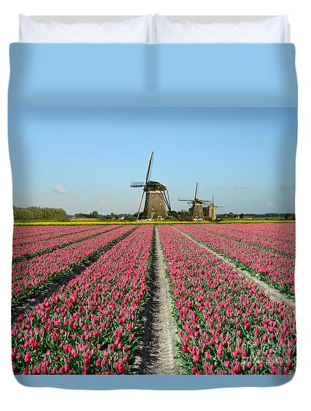 Tulips And Windmills In Holland Duvet Cover