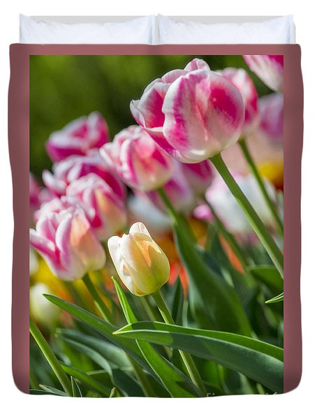 Duvet Cover featuring the photograph Tulips by Angela DeFrias