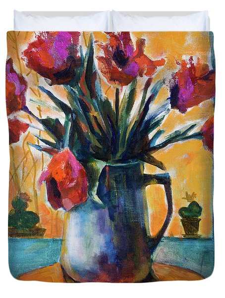 Tulips At Sunset Duvet Cover