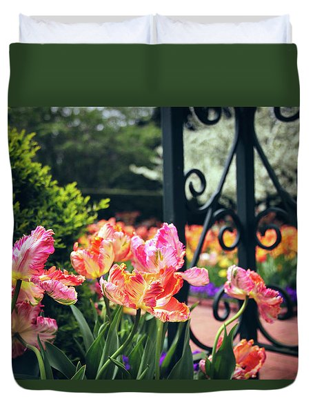 Tulips At The Garden Gate Duvet Cover by Jessica Jenney
