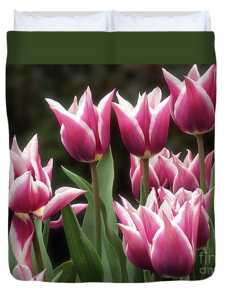 Tulips Bed  Duvet Cover by Kim Tran