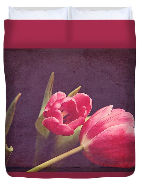 Duvet Cover featuring the photograph Tulips Blush by Toni Hopper