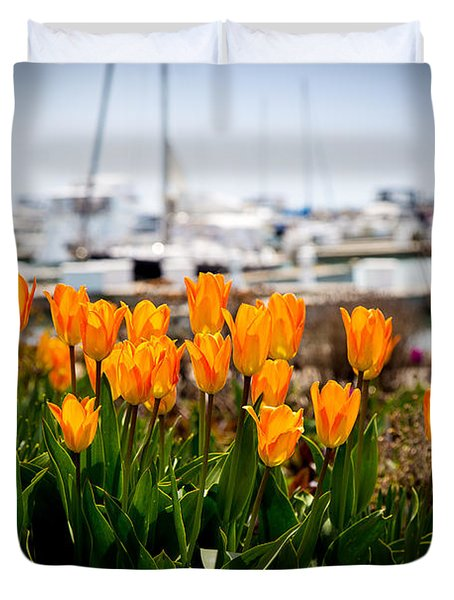 Tulips By The Harbor Duvet Cover