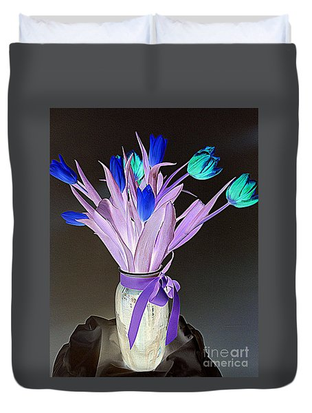 Tulips Cancer 1 Duvet Cover by Richard W Linford