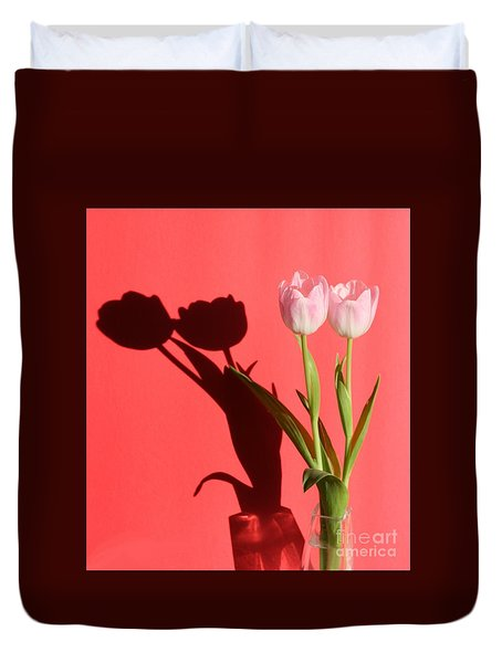 Tulips Casting Shadows Duvet Cover