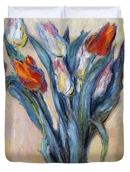 Tulips Duvet Cover by Claude Monet