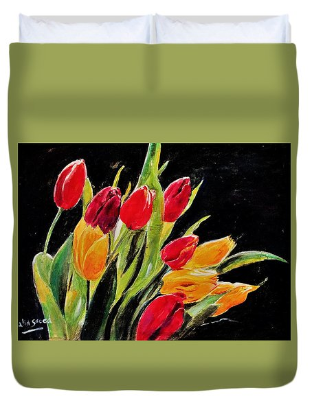 Tulips Colors Duvet Cover by Khalid Saeed