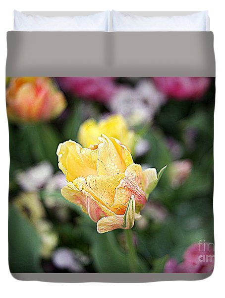 Duvet Cover featuring the photograph Tulips by Diana Mary Sharpton