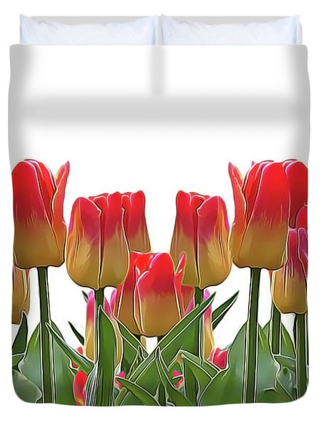 Duvet Cover featuring the painting Tulips by Harry Warrick
