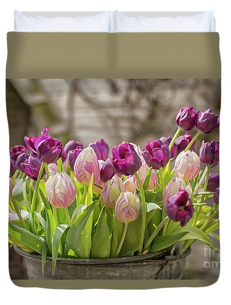 Duvet Cover featuring the photograph Tulips In A Bucket by Patricia Hofmeester