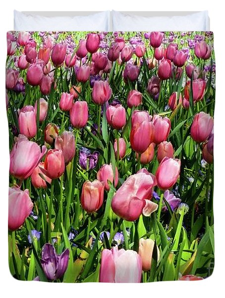 Duvet Cover featuring the photograph Tulips In Bloom by D Davila