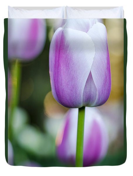 Tulips In Pink And White Duvet Cover